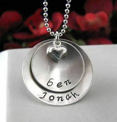 Sterling Silver Hand Stamped MOM Grandmother MOMMY Necklace 2 Layer Personalized