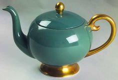 Flintridge China Teapot Vintage Pattern Sylvan Teal/Gold