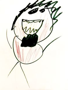 Student's drawing of a red stick figure self portrait.