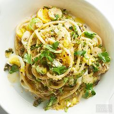 Brussel Sprouts & Eggs Bucatini - Twirl up this hearty pasta for lunch or a light dinner. Toasted panko breadcrumbs give the dish major crunch.