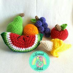 Crochet fruit Crochet Fruit, Crochet Earrings, Mermaid, Knitting, Handmade, Kindergarten, Diet, Healthy, Summer