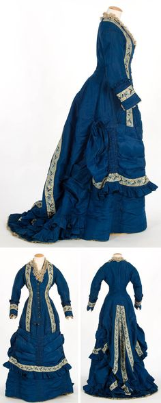 Dress, ca. 1875-1879, silk taffeta with silk ribbon trim. Bodice lined in white cotton taffeta and skirt in brown. Bodice closes in front with 9 engraved buttons. Skirt attaches to bodice with belt. Folds on the bottom, and open fan-shaped train with pleated ruffle, adjustable with tapes inside the dress. Textile Museum & Documentation Center, Terrassa (IMATEX)