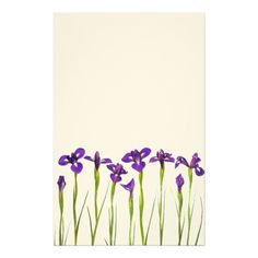 Purple Irises - Iris Flower Customized Template Stationery Paper by SilverSpiral