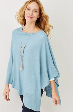 1048729a3c linen-blend textured knit poncho Poncho Outfit