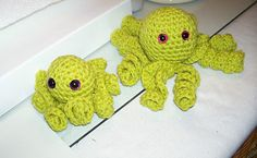 Miniature Amigurumi Handmade Mama Octopus and Baby- Lime Green Crochet
