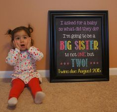 24 Ideas For Baby Twins Announcement Friends Twin Baby Announcements, Big Sister Announcement, Pregnancy Announcement Photos, Pregnancy Photos, Pregnancy Care, Baby Photos, Pregnancy Countdown, Chalkboard Pregnancy, New Sibling