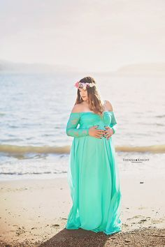 Kelly aqua Chiffon-Lace Maternity Gown with by designbycboutique
