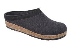 fb18d7f79f9 Haflinger Grizzly Clog With Leather Trim  113 Charcoal Wool Felt This  update on the classic wool