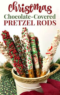 The Christmas Pretzel Rods Recipe is a great addition to your holiday baking. Colorful tasty and easy no-bake holiday treat. These chocolate covered pretzels also make a great food gift for friends teachers and neighbors. Christmas Pretzels, Easy Christmas Treats, Christmas Deserts, Holiday Snacks, Christmas Party Food, Christmas Christmas, Christmas Chocolates, Christmas Dessert Recipes, Holiday Recipes