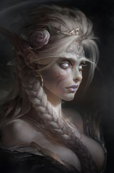 White Priestess by TamplierPainter.deviantart.com on @DeviantArt alliance elf night priest priestess warcraft wow azhsara