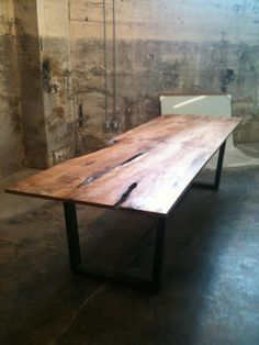 Beautiful industrial/live-edge table