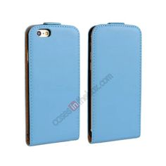 Magnetic Vertical Flip Genuine Leather Case for iPhone 6 Plus 5.5inch - Blue US$10.69