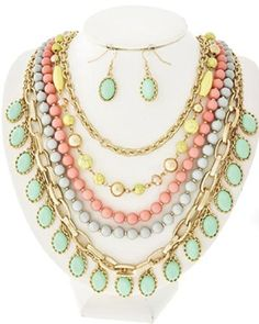 With the right outfit, something like this could be stunning. Mint and Peach Multi Row Necklace and Earring Set Fashion Design http://www.amazon.com/dp/B00KAIR02S/ref=cm_sw_r_pi_dp_2E5Pub1PACN4E