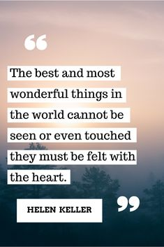 """the best and most wonderful things in the world cannot be seen or even touched they must be felt with the heart."" {helen keller}"