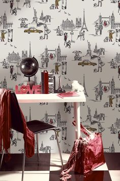 Modern Toile de Jouy wallpaper from b & q depicting  the modern cities around the world