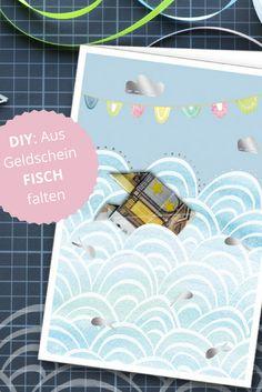 Faltenleitung Fisch: Einfach einen Fisch aus einem Geldschein falten und an die Glückwunschkarte stecken. Mehr Karten für Geldgeschenke unter www.hanra.de