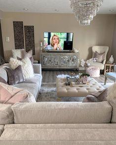 I'll be in my basement enjoying my LG Signature OLED TV W aka the Wallpaper TV a. - Home Decor İdeas Glam Living Room, Living Room Decor Cozy, New Living Room, Home And Living, Bedroom Decor, Wall Decor, Modern Living, Living Room Inspiration, Home Decor Inspiration