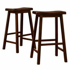 "Scoop 24"" Counter Stool - Walnut (set Of 2)"