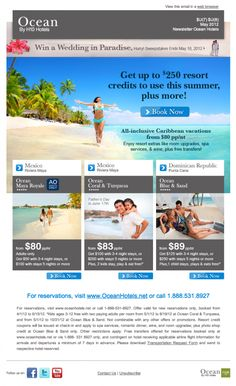 Ocean Hotels email design from Shebang