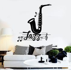 Vinyl Wall Decal Jazz Music Musical Room Decoration Stickers Mural (470ig)