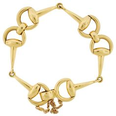 Vintage 18kt Yellow Gold Gucci Style Horse Bit Link Bracelet