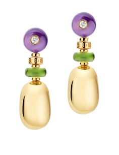 Mediterranean Eden Yellow Gold Peridot Amethyst Diamond Earrings 346340