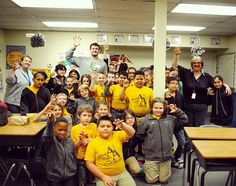 "When Baylor quarterback Seth Russell injured his neck, the 4th graders at Advantage Academy in Waxahachie made him dozens of ""get well"" cards.  So earlier this month -- once football season was finally complete -- Seth paid a visit to the students, who have now adopted Baylor as their college! #SicEm, future Bears!"