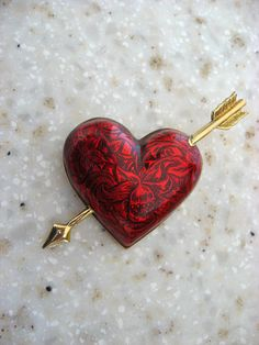 Avon Red Heart Valentine brooch by fowlpleasures on Etsy, $9.50