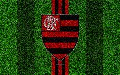 Download wallpapers Flamengo RJ FC, Clube de Regatas do Flamengo, 4k, football lawn, logo, Brazilian football club, emblem, red black lines, Serie A, Rio de Janeiro, Brazil, Campeonato Brasileiro, Brazilian Championship A Series