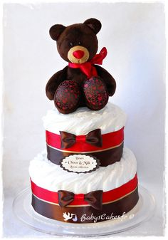 Gâteau de couches garçon à croquer ! Peluche de luxe Milk and Choco et couches écologiques #gateaudecoucches #cadeaubébénoel