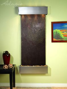 An interior water wall is ideal for the home and radiates grace. Were you aware setting up a contemporary waterfall inside of your client's home will add an added passive filtration system to yourspace? Its no lie.www.waterfeaturesupply.com/waterwalls/indoor-wall-water-fountains.html