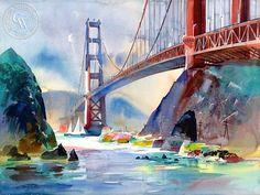 Ken Potter - Golden Gate, 1997 - California art - fine art print for sale, giclee watercolor print - Californiawatercolor.com