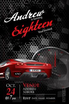 Buckle Up - Fast Car invitations, Birthday invitation, 18th Birthday invitation, birthday party invitation