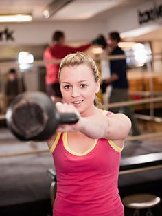 Work Out with Kettlebells: While standing, use the horn-grip to hold a kettlebell with the ball on the top and the handle on the bottom. This grip will force the kettlebell to travel in a ribbon formation. #tone #tummy