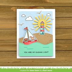 Lawn Fawn Intro: Smooth Sailing, Stitched Simple Wavy Borders, Slide on Over Waves - Lawn Fawn Card Tags, I Card, Small Sailboats, Lawn Fawn Blog, Slider Cards, Rainbow Paper, Lawn Fawn Stamps, Spring Shower, Window Cards