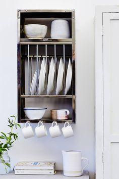 Cutlery Storage, Plate Storage, Wall Racks, Rack Shelf, Kitchen Storage Units, Plate Racks In Kitchen, Kitchen Dresser, Kitchen Redo, Industrial Furniture