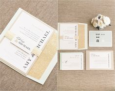 Amy and Mikes Lakeside wedding | www.AmalieOrrangePhotography.com Gold and Turquoise wedding invitations
