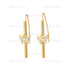 aretes con mariposa de dorado en acero-SSEGG264421
