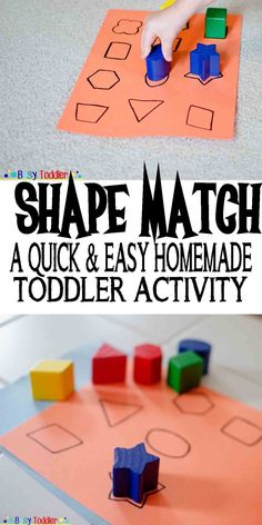 Shape Match Shape Match: a quick and easy homemade toddler activity Toddler School, Toddler Classroom, Montessori Toddler, Montessori Activities, Toddler Learning, Infant Activities, Preschool Activities, Shape Activities, Toddler Activities For Daycare