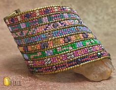 Beaded Cuff Bracelet with Crystals and Beads on Gold Leather