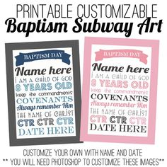 Baptism Subway Art- customize it for child in Photoshop!   good for the girls that are coming up to activity days.