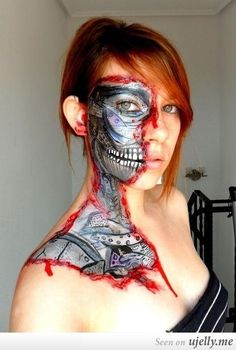 Cyborg Halloween make up!