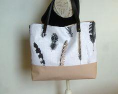 Sac cabas, tote bag lin et coton , anses en cuir amovibles : Sacs à main par couleur-boheme