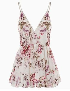 Women's Floral White Jumpsuits,Sexy V Neck Sleeveless 4960146 2016 – $18.58