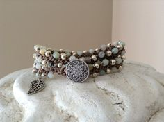 Amazonite and Silver Double Crochet Wrap by WrapsodyStudio on Etsy, $28.00