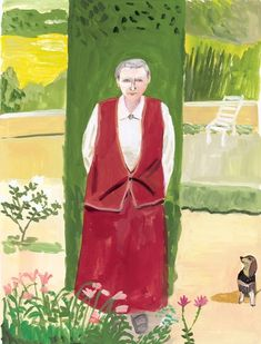MAIRA KALMAN Gertrude Stein with her Dachshund, 2015 Gouache on paper 11 x 8 in (27.94 x 20.32 cm) Courtesy of Maira Kalman, Julie Saul Gallery, New York Signed on recto