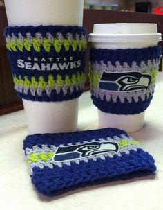 Seattle Seahawks Inspired Coffee Cozy crochet by StylesbyFaith, $7.00