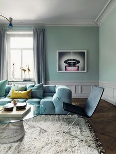 Clean, bright blue palette and loads of sunlight make this living room full of joy! Love this blue living room. Living Room Color Schemes, Living Room Colors, Living Room Paint, Living Room Interior, Home Interior, Living Room Decor, Interior Decorating, Living Rooms, Decoracion Vintage Chic