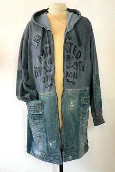 11c5e4cd313 Man unisex coat kirtle vintage blue denim and cotton knit