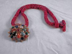 Handmade Red Tweed Seed Bead Necklace with Pendant from Not Just MUSI Bows on Ruby Lane #RubyLane